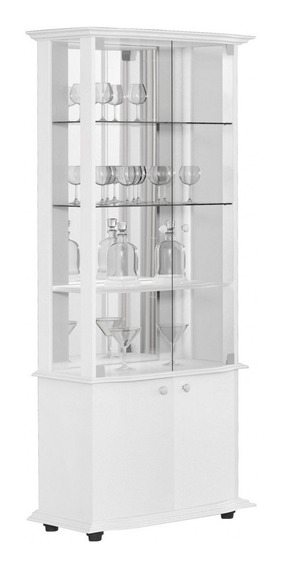 Cristaleira Mdf Moderna Vidro Espelho Branca Monalisa