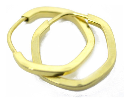 Imagem 1 de 3 de Brinco Em Ouro 18k Argola Sextavada 13mm Fio 1,3mm Bx002