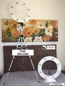 Ring Light 8 Bocais 45cm + Base + Tripé + Sup. Celular