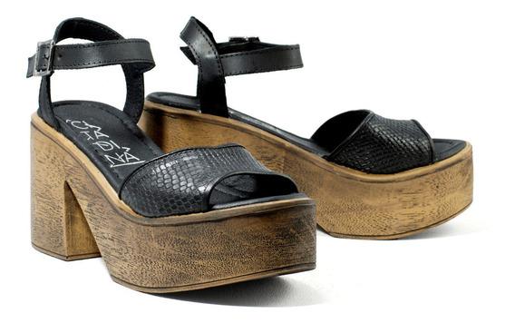 Zapatos Mujer Citadina Sandalias Con Plataforma Cuero Vacuno