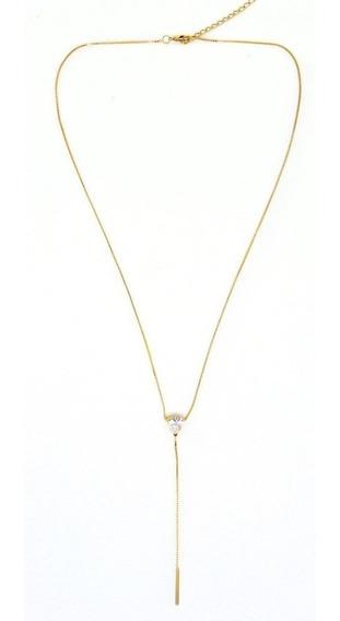 Colar Zirconia Gota Longo (ouro Sobre Prata)