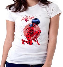 Blusa Camiseta Feminina Baby Look Ladybug Corações Desenho