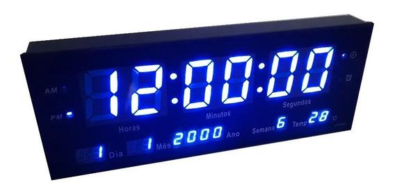Relogio De Parede Led Digital Calendário Alarme Temp Azul 33