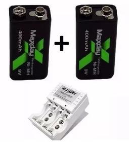 Kit Baterias 9v 400mah Originais Maxday + 1 Carregador Brind