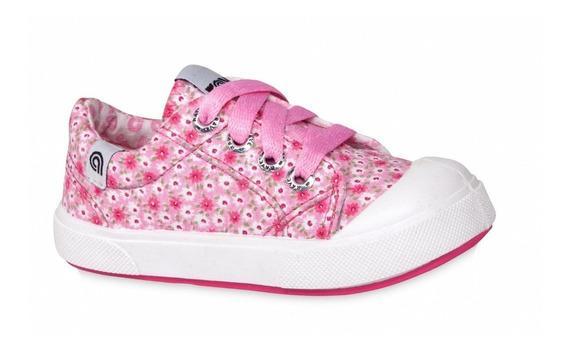 Zapatillas De Lona Floreadas Para Niñas - Talles 20 Al 26