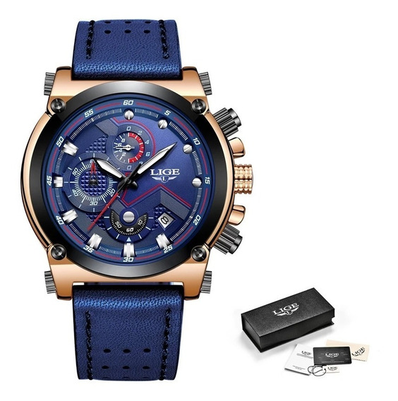 Relógio Masculino Lige 9856 Cronógrafo Original Couro Luxo
