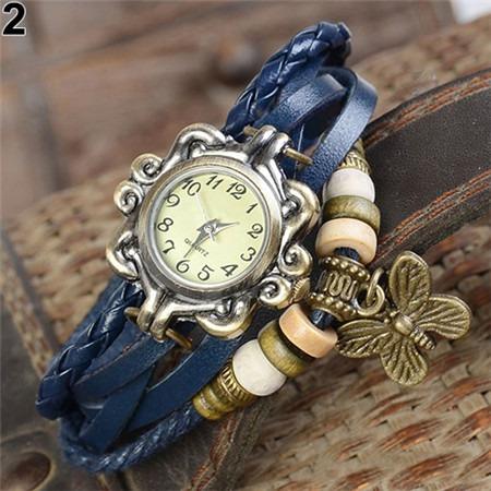 Relógio De Pulso Vintage Feminino Em Couro - Varias Cores