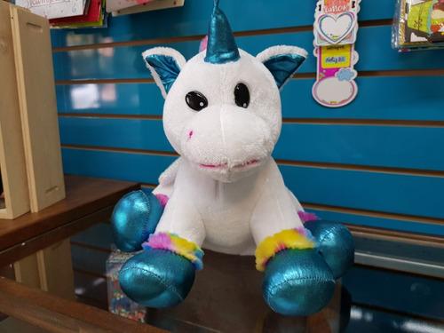 Peluche Unicornio Sentado Azul