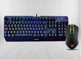 Kit Teclado Mecânico Alfawise V1 + Mouse Gamer Motospeed V30