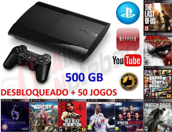 Ps3 Super Slim Desbloqueado 500gb 50 Games Controle Psn + Nf