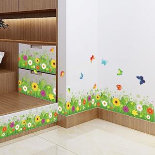 Adesivo Decorativo Com Flores + Grama + Borboletas Rodapé