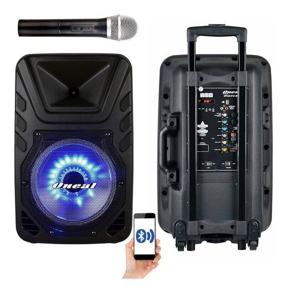 Caixa De Som Amplificada Bateria Oneal Omf425 + Microfone