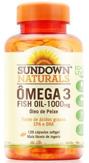 Ômega 3 Fish Oil Óleo De Peixe Sundown 1000mg C/120 Cápsulas