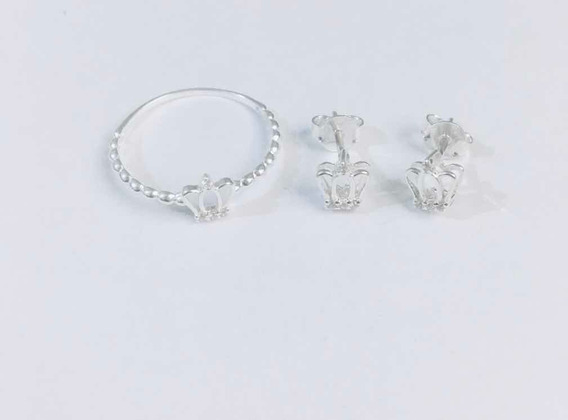 Anel E Brinco Coroa Mini Em Prata 925 E Zirconias