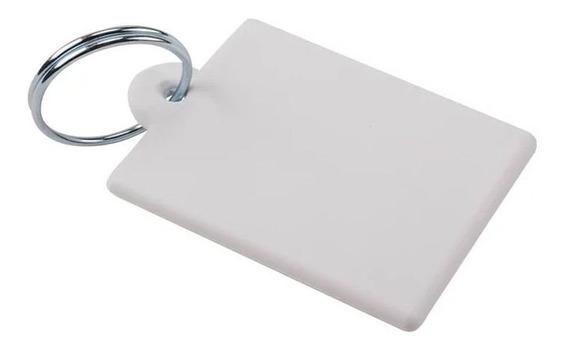 100 Chaveiro Plástico Polímero Retangular Sublimação Branco