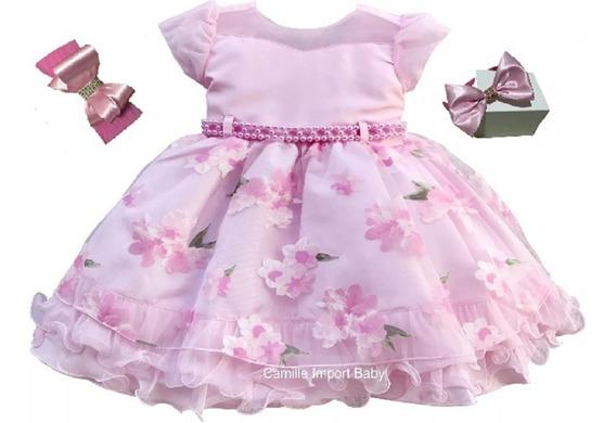 Vestido Festa Infantil Floral Luxo Formatura E Frete Grátis