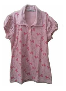 Camisa Polo Feminina Infantil Poodle Manga Curta