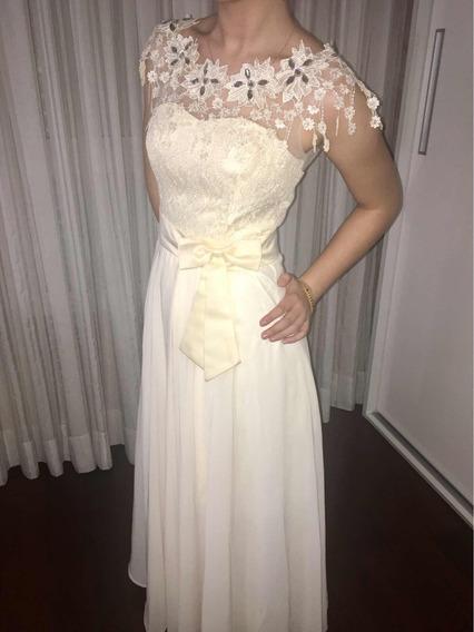 Vestido De Festa Tam. 36, Cor Marfim, Usado Apenas 01 Vez
