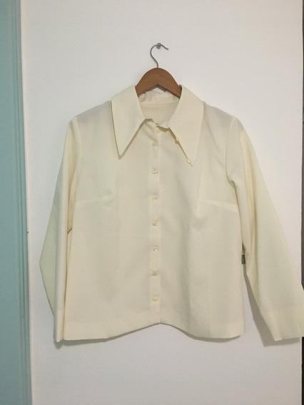 Camisa Vintage Retro 70s Cuello Largo Mujer