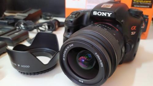 Imagem 1 de 10 de Sony Dslr A57 16.1mp+cartão 32gb+bolsa+timelapse+fonte+sapat