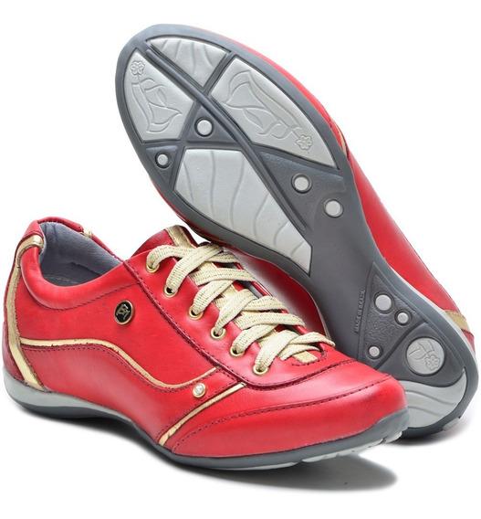 Sapato Feminino Tênis Couro Confortável 212