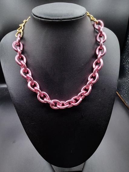 Colar Corrente Femenino Rosa Chain Lançamento Blogueira