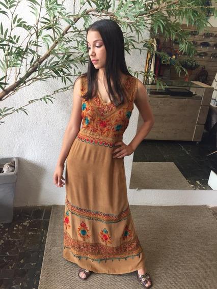 Vestido Longo Indiano Estonado Bordado