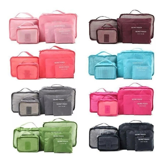Set De 6 Organizador De Valijas, Kit Bolsos Ropa Color Liso