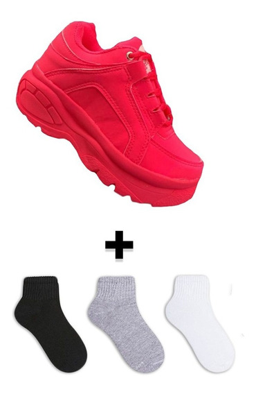Tenis Sapato Sneakers Bufalo Neon Plataforma + Brinde
