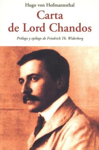 Imagen 1 de 3 de Carta De Lord Chandos, Hugo Von Hofmannsthal, Olañeta