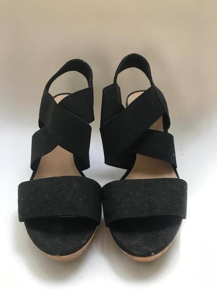 Zapatos Verano Negros Taco Chino Simil Corcho