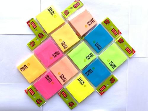 Notas Adhesivas Colores 76*76 Mm Neon Paq*12 Tacos
