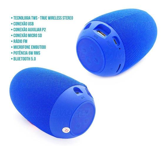 Caixa De Som Oval Speaker Bluetooth Com Tws Microfone Usb