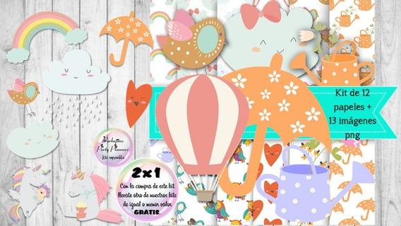Cliparts Y Papeles Lluvia De Amor Mod. 7 Kit Imprimible