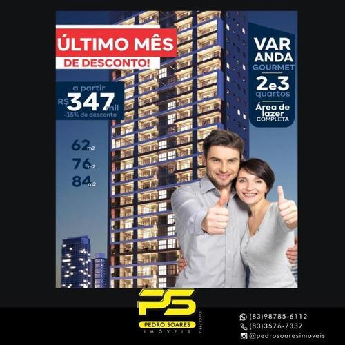 Apartamento Com 2 Dormitórios À Venda, 62 M² Por R$ 347.000,00 - Brisamar - João Pessoa/pb - Ap4060
