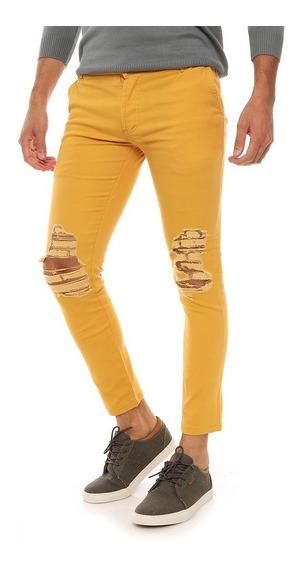 Pack X2 Pantalón Gabardina Hombre Con Rotura Varios Colores!