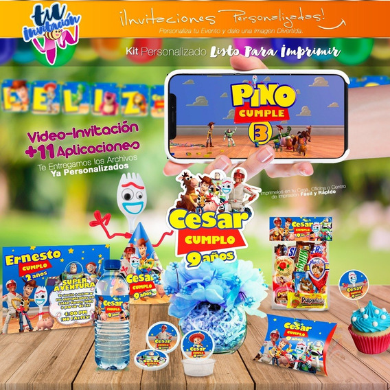 Video Invitación Toy Story 4 Forky + Kit Imprimible Cumple