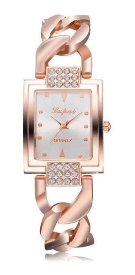 Relógio Pulso Feminino Fino Luxo Lvpai Rosé Ouro Retangular