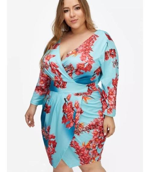 Vestido Floral Sensual Transpassado Importado Plus Size