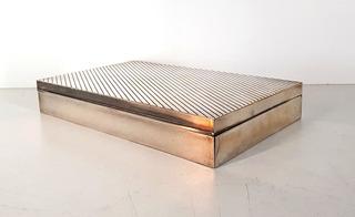 Caja Humidor Para Habanos Cigarros Cedro Fino Plateado(4452)