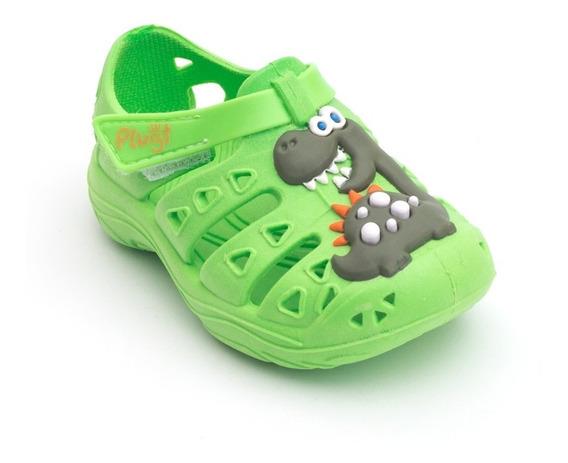 Babuche Plugt Dinossauro Dino Infantil - Verde