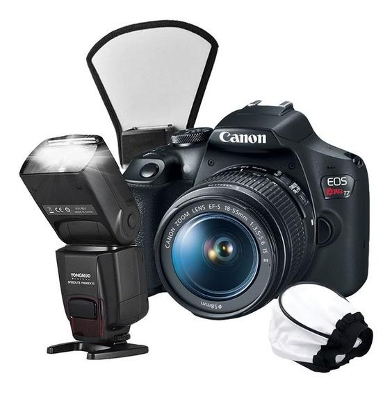 Câmera Canon T7 + Flash Yongnuo + Difusor + Soft Difusor
