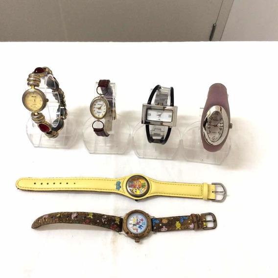 Lote 6 Relógios Semi-novos 4 Femininos E 2 Infantis