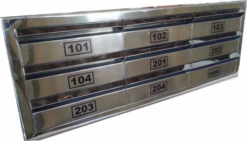 Caixa De Correio Em Inox Para Condomínio 9 Modulos Aço 430