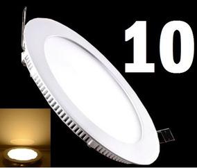 10 Painel Plafon 6w Led Slim Redondo Luz Quente Embutir Spot