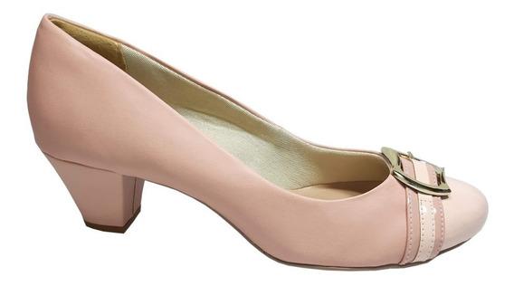 Sapato Scarpin Salto Baixo Creme Tamanho Numero 41 42 43