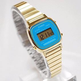 Relógio Casio Feminino Digital Dourado Azul Vintage Pequeno