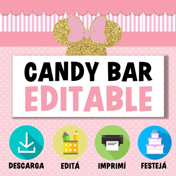 Kit Candy Bar Minnie Mouse Editable Imprimible Rosa Dorado