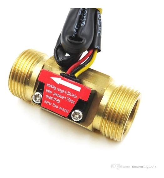 Medidor Sensor Fluxo Água Sensor Hall Metal 3/4 Fluxímetro
