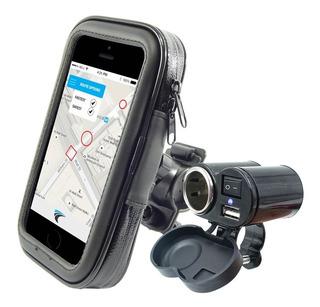Kit Motoboy Suporte P/ Celular P/ Aguá Gps + Tomada Usb Moto